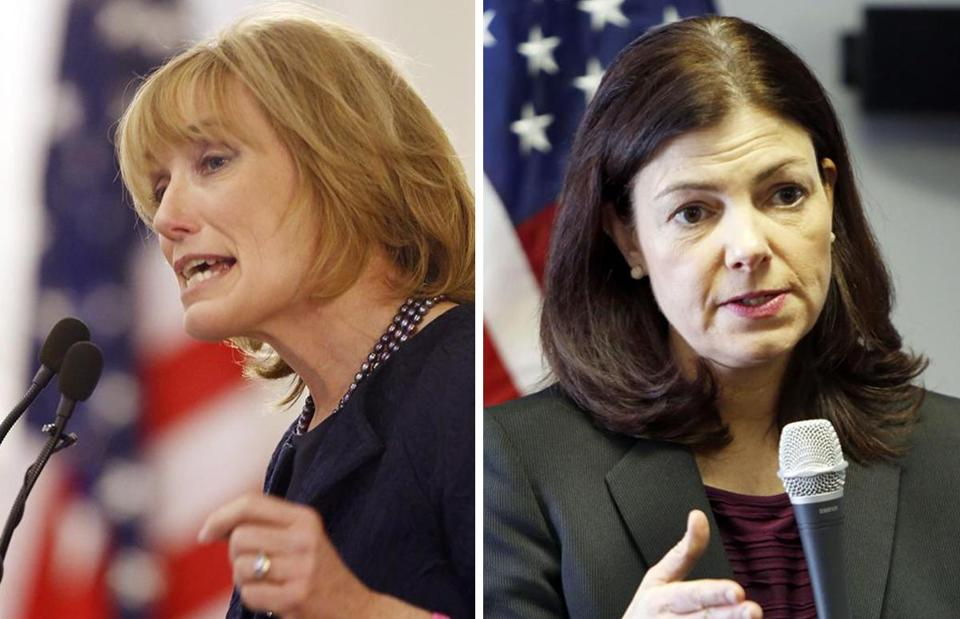 Governor Maggie Hassan (left) may challenge Senator Kelly Ayotte.