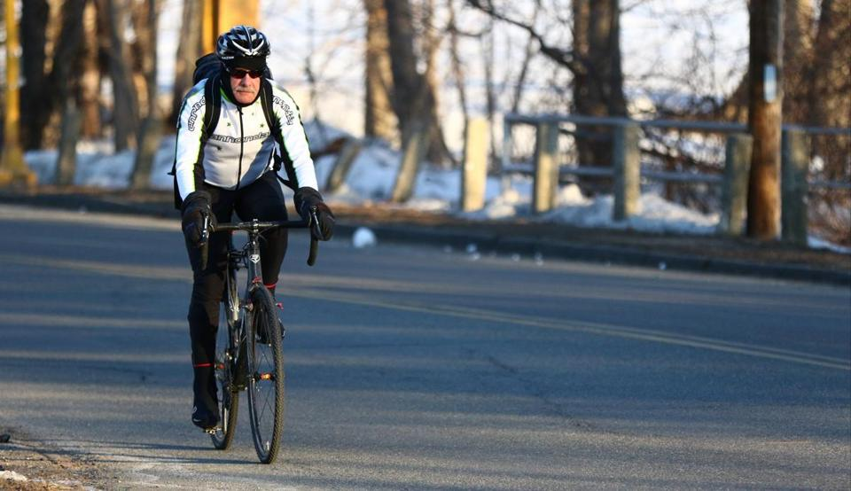 Daniel Tieger of Manchester-by-the-Sea commuting to his job in  Gloucester— a 20-mile round trip.