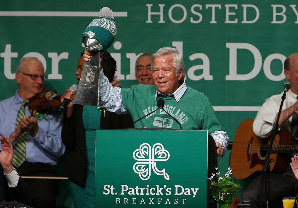 Patriots owner Robert Kraft brought along the trophy his team recently won.