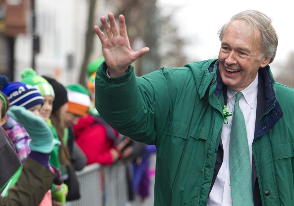 Senator Ed Markey marched in South Boston's St. Patrick's Day parade.