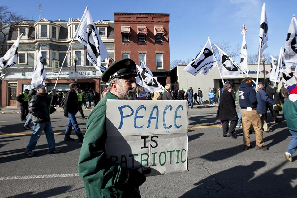 David Carlson of Brighton marched in the Veterans for Peace parade in 2013. The organization has been barred from joining the main St. Patrick's Day parade in South Boston, so it follows with its own separate march.