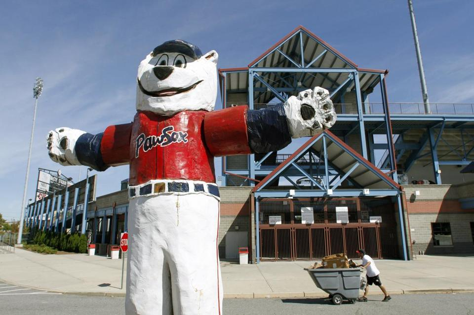 "A statue of the Pawtucket Red Sox baseball team mascot ""Paws"" outside McCoy Stadium, in Pawtucket."