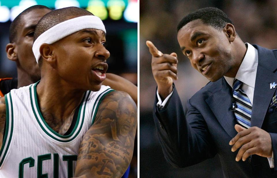 Celtics point guard Isaiah Thomas (left) was named after legendary Pistons point guard Isiah Thomas.