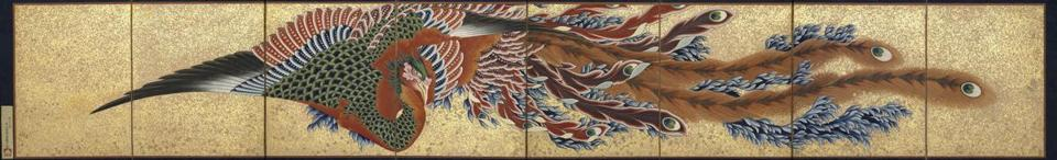 Phoenix Katsushika Hokusai (Japanese, 1760Ð1849) 1835 (Tenp� 6) Eight-panel folding screen; ink, color, cut gold-leaf, and sprinkled ?gold on paper * William Sturgis Bigelow Collection * Photograph © Museum of Fine Arts, Boston -- 032915bigelow