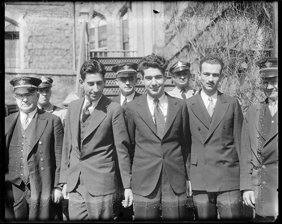 Murton Millen, Irving Millen, and Abraham Faber in April 1934 at the start of their eight-week trial.