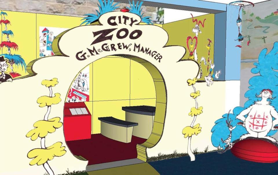 "Conceptual design for the Amazing World of Dr. Seuss Museum's ""City Zoo Interactive Display."""