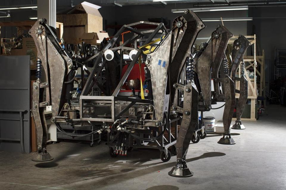 "03/22/2015 - Somerville, MA - Artisan's Asylum - This is ""Stompy,"" a nearly complete rideable hexapod. ""The running joke is that it's 90% done with 90% to go,"" said Stompy's mechanical engineer and self-appointed ""cat herder"" Aaron Grossman, cq. These are pictures of robots built by people who work out the Artisan's Asylum in Somerville, MA. Topic: BuildingBots. Photo by Dina Rudick/Globe Staff."