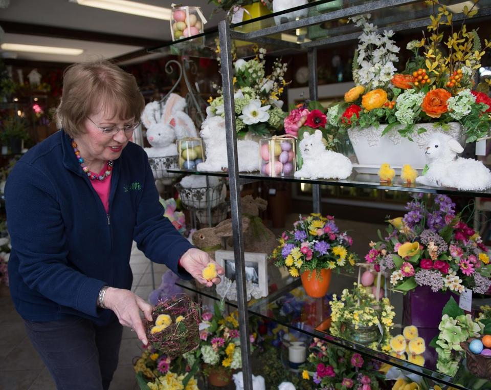 Lovells flowers greenhouse nursery the boston globe laverne lovell with silk flowers and easter decorations mightylinksfo