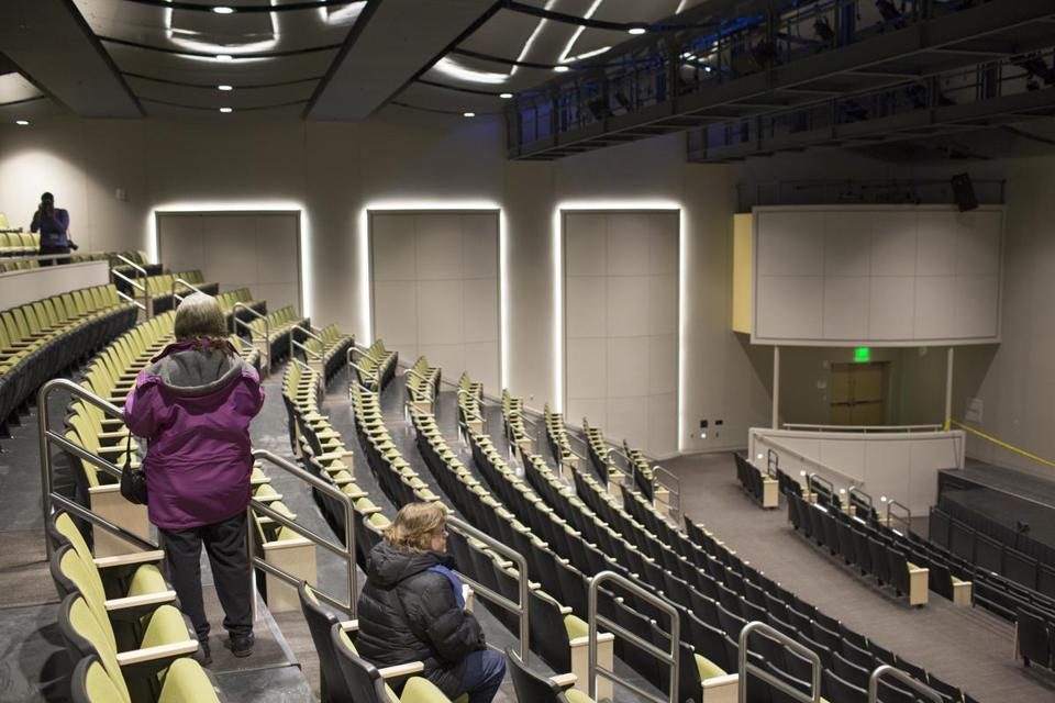 A 600-seat auditorium, a black box theater, and soundproofed practice rooms are among the features at the new high school.