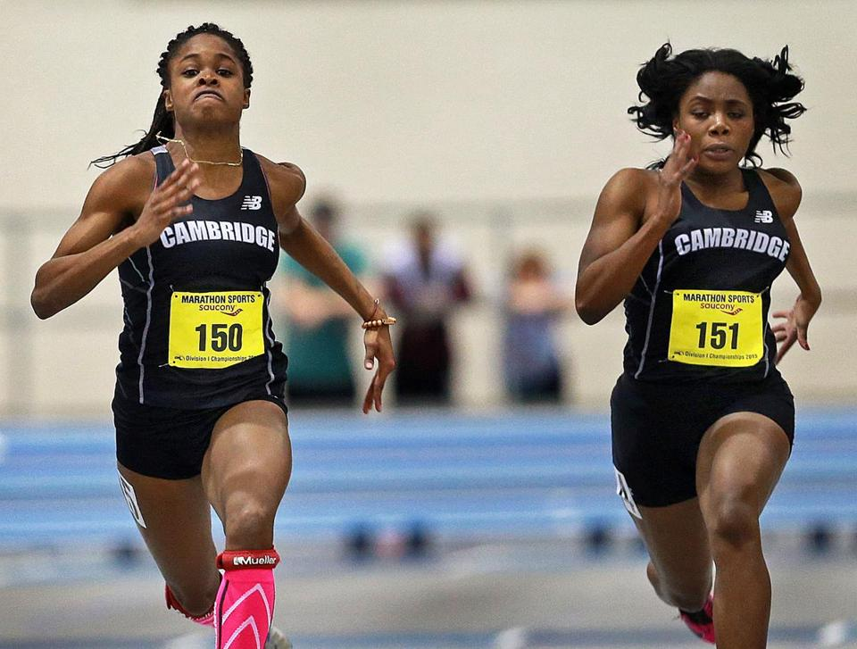 Brianna Duncan (left) outran teammate Sydney Fisher (right) in the 55-meter dash at the track championships.