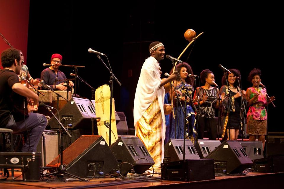 Musicians of the Nile Project performing at the Tsai Performance Center at Boston University on Friday.