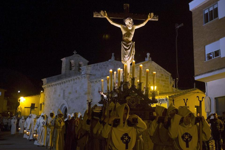 People carried the image of the Most Holy Christ of the Holy Spirit during a religious procession in central Spain as part of Holy Week.