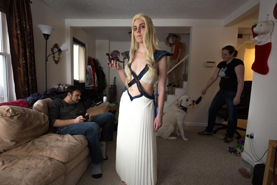 "Rhea McCullough posed in her Daenerys Targaryen costume, from Season 4 of ""Game of Thrones,"" in her South Grafton apartment."
