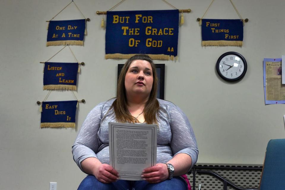 Stephanie Robtoy, 25, waited for the start of a Narcotics Anonymous meeting. Before joining the program, she had been addicted to opiods for a decade.