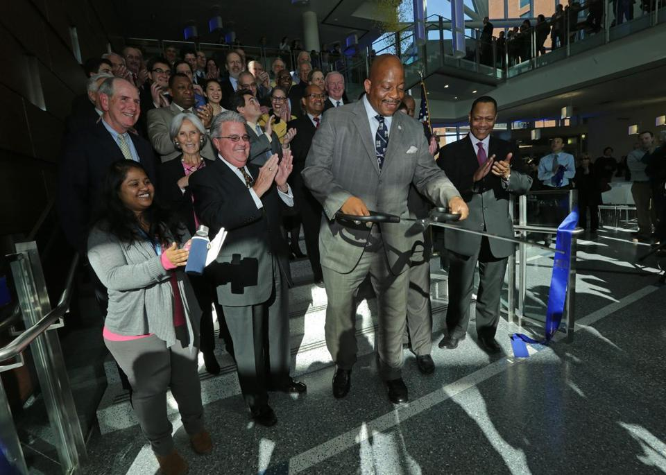 UMass Boston Chancellor J. Keith Motley at the official ribbon cutting ceremony on Wednesday.