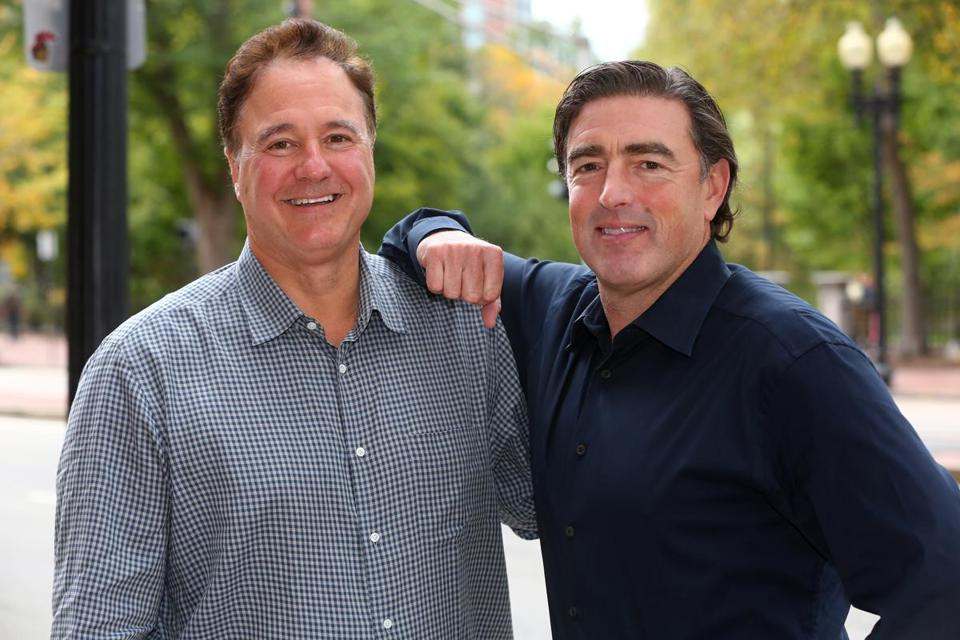 Boston Celtics co-owners Steve Pagliuca (left), and Wyc Grousbeck. Pagliuca, a former partner at Bain & Co. and current managing director of Bain Capital, said data analysis is at the heart of how the Celtics make key decisions.