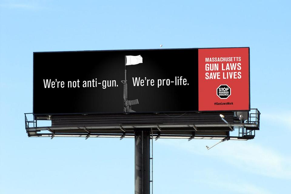 The billboards were part of a new campaign, whose design is shown above.