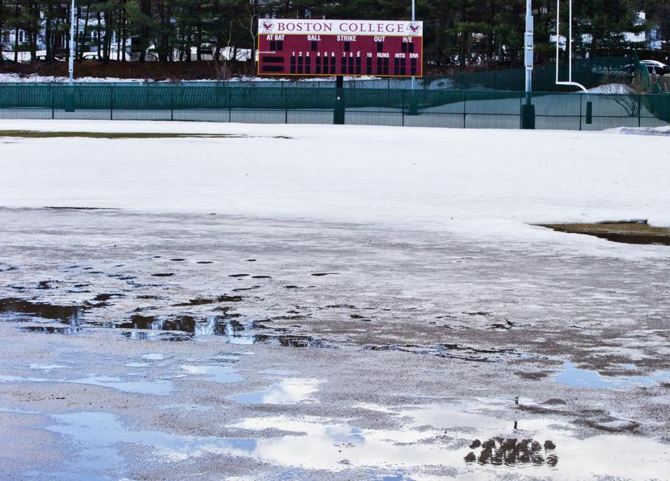 At Boston College's home field, the field is covered and there's quicksand in the infield.