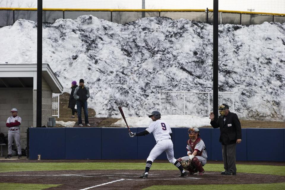 There is snow all around at Northborough's New England Baseball Complex—but no longer on the synthetic fields of play.