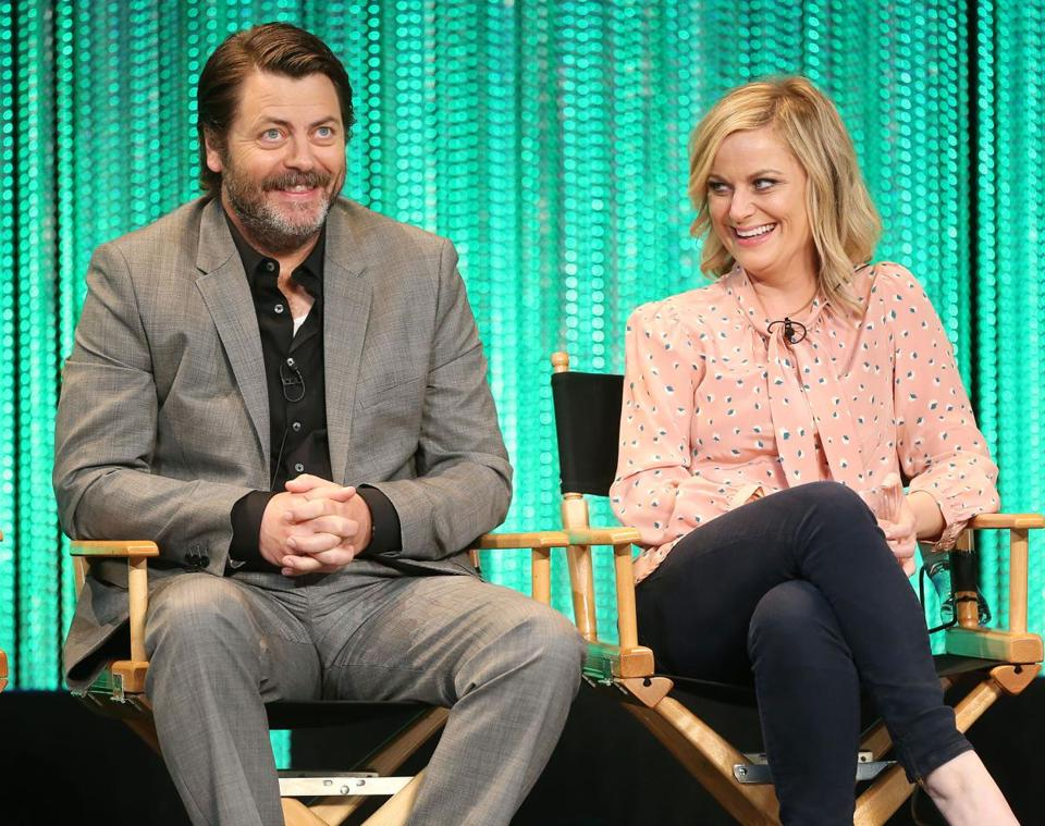 FREDERICK M. BROWN/GETTY IMAGES Nick Offerman and Amy Poehler, no fans of the National Rifle Association, were especially angered over the group's response to the recent fatal mass shootings at a Florida high school.