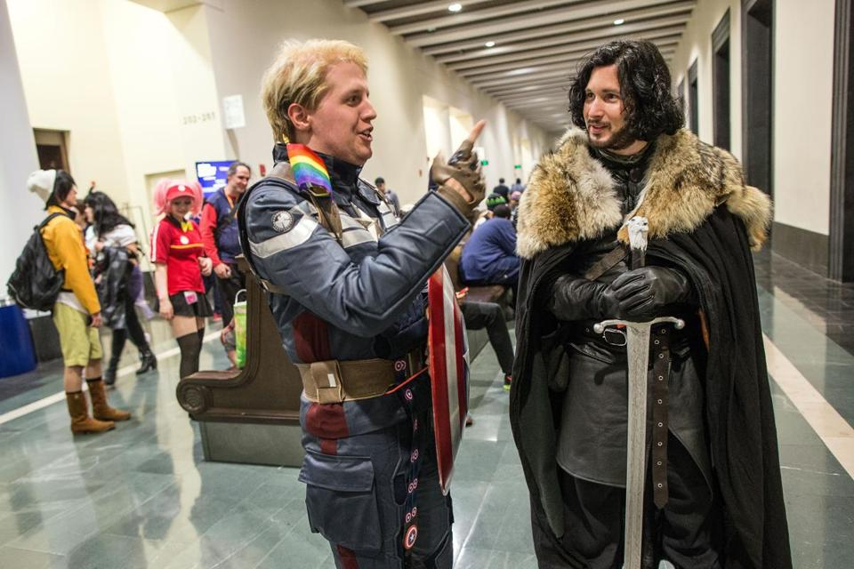 Bryan Conlin, 32 (left), dressed as Captain America, interacted with Connor Hughes dressed as Jon Snow.