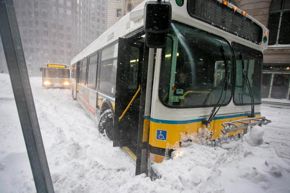 An MBTA bus was stuck in a snowbank during a storm in February, one of several storms throughout the winter.