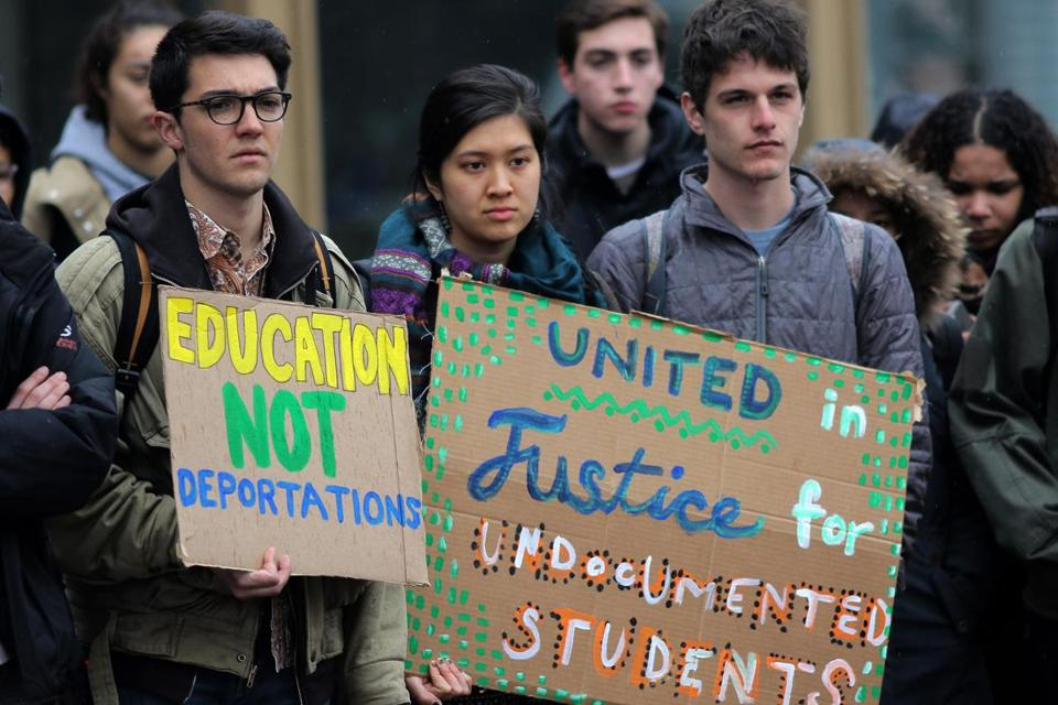 The group Tufts United for Immigrant Justice rallied on campus Tuesday.