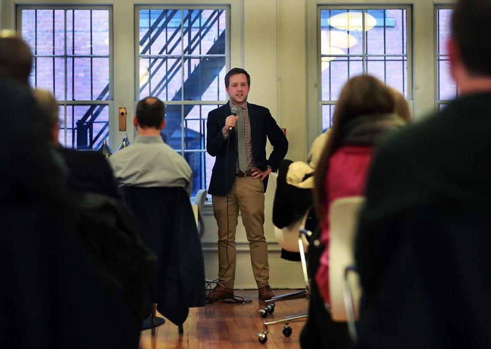 04/08/15: Boston, MA: Rory Cuddyer, the new startup czar for the city of Boston is pictured as he speaks to people at Oficio, a shared workspace on Newbury Street. (Globe Staff Photo/Jim Davis) section: business topic: 10 betaCzar