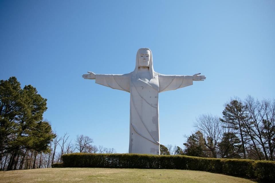 Christ of the Ozarks overlooks the Ozark Mountains in Eureka Springs.