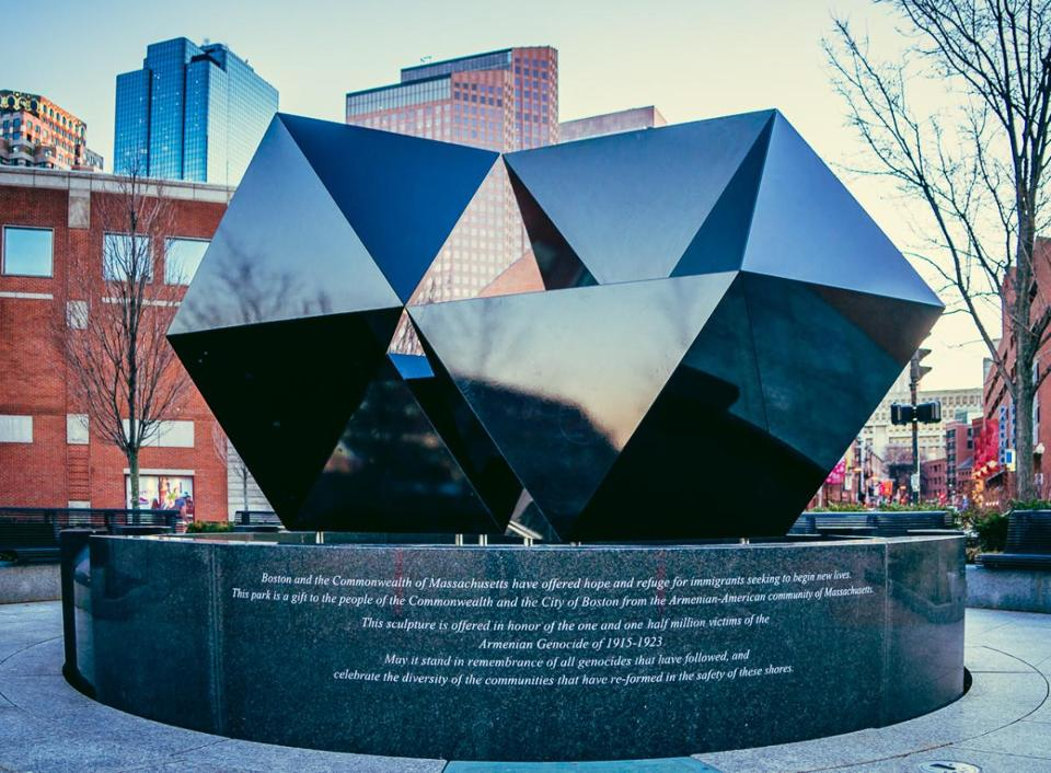 Designed to be reconfigured each year to represent the shifting immigrant experience, the Armenian Heritage Park sculpture (above) as it appears this year.