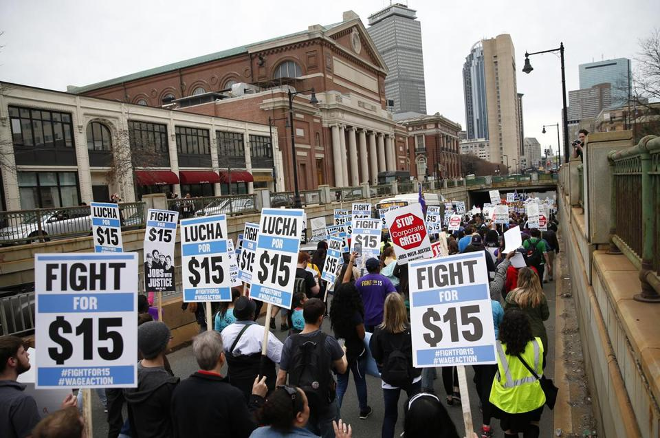 Protesters took over a lane of Huntington Avenue during a protest against income inequality and to call for higher wages last April.