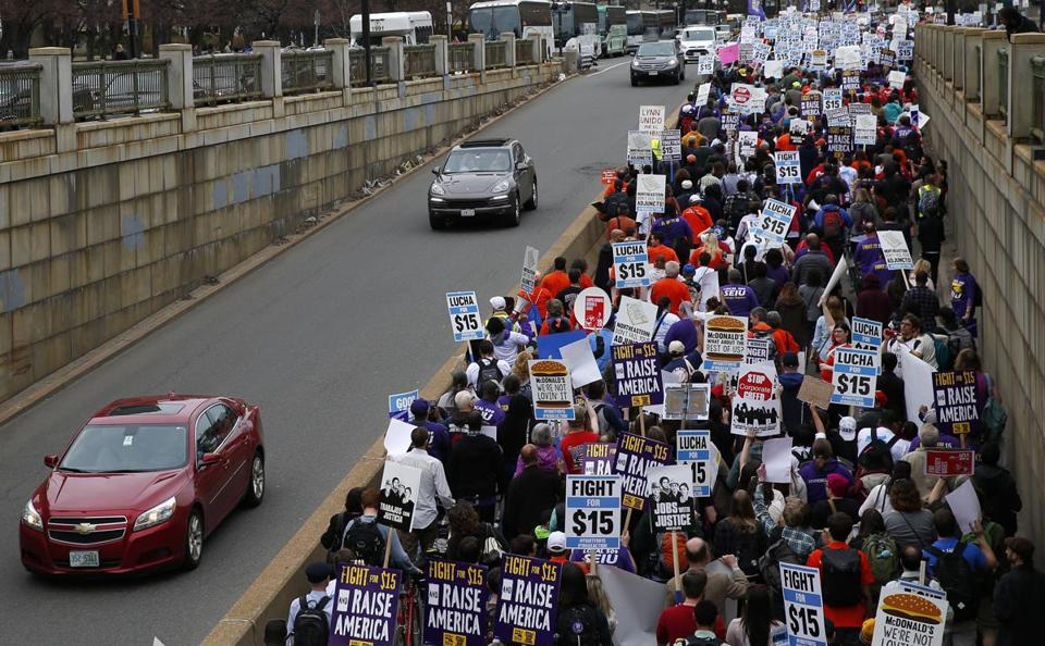 Demonstrators took over a lane of Huntington Avenue.