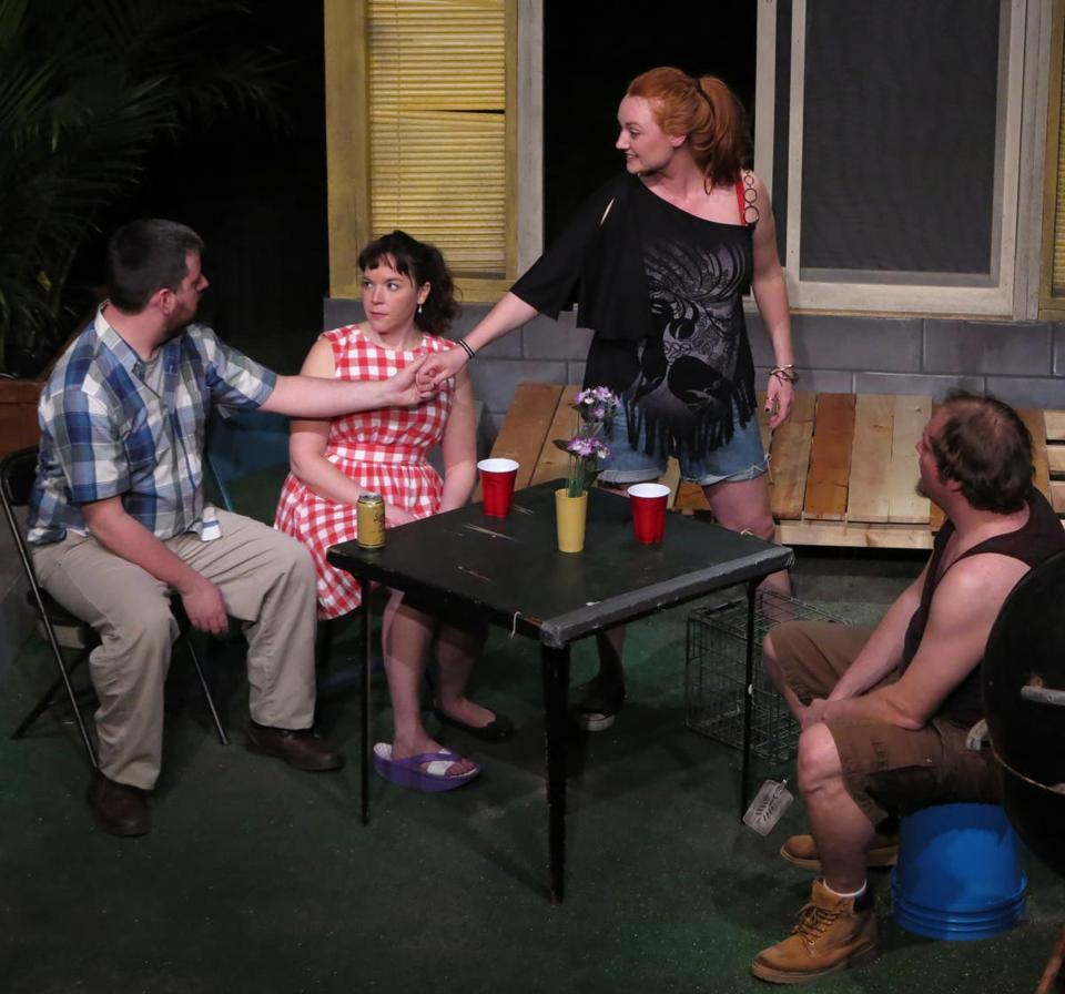 "From left: Stephen Libby, Becca A. Lewis, Courtland Jones, and John Dylan Greene in Apollinaire Theatre Company's ""Detroit."""