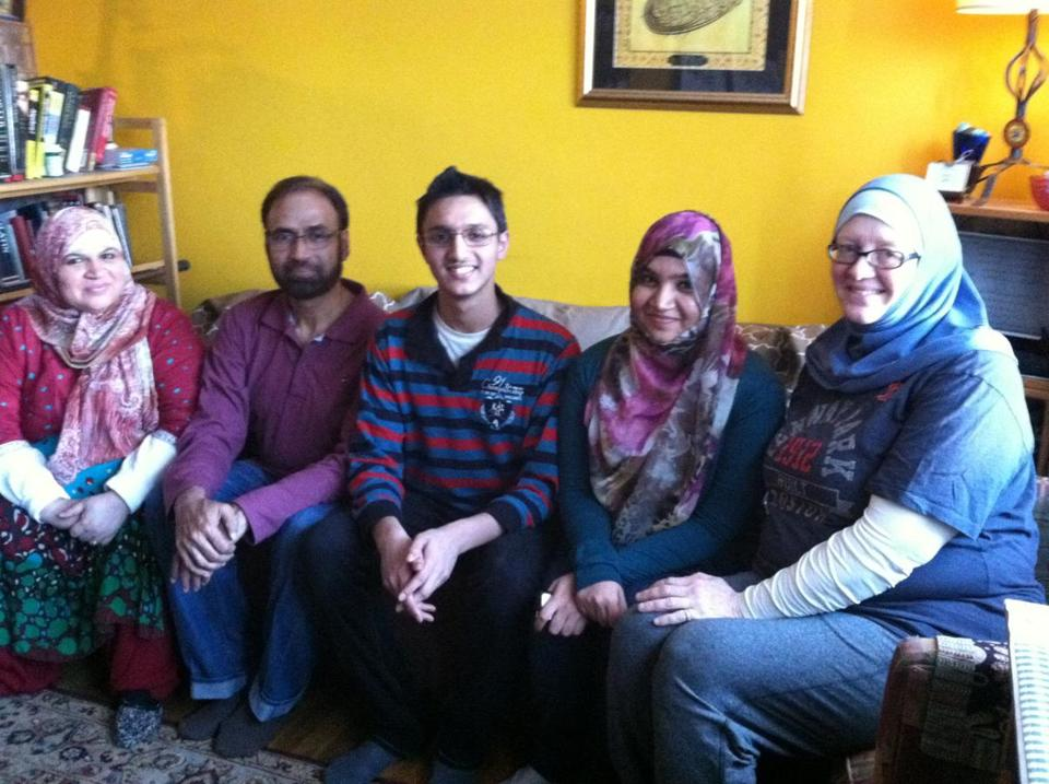 The Mahmood family (from left) Shahla, Muhammad Nisar, Hamza, and Farah, and family friend Debra Portmann
