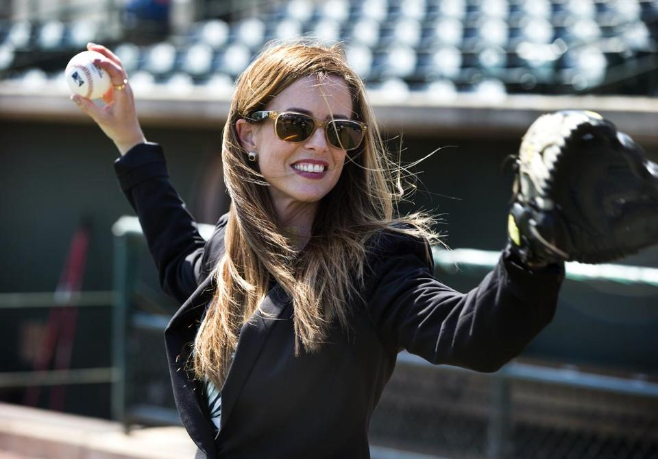 Charleston, S.C.-April 9, 2015-Globe Staff Photo by Stan Grossfeld-- Tyler Tumminia, warms up before the Charleston River Dogs game.She oversees the business operations of four minor league baseball teams and co-owns a collegiate team