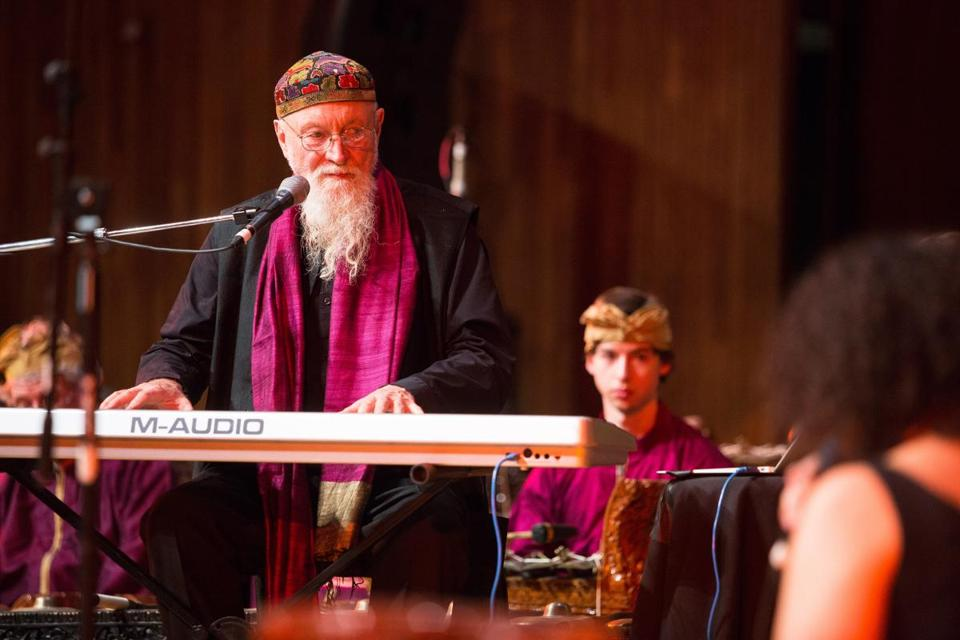 Composer Terry Riley performing at MIT on Saturday night.