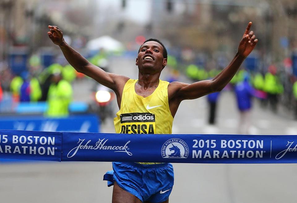 Boston 04 20 15 The Marathon Finish Line Mens Winner