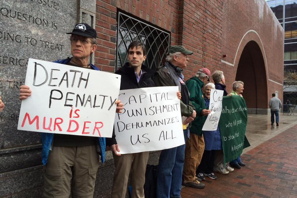 Demonstrators were seen outside federal court at the start of the first day of the penalty phase in the Boston Marathon bombing trial.