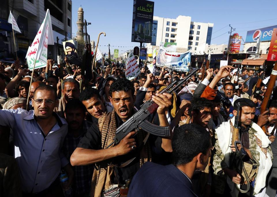 Houthi supporters shouted anti-Saudi slogans during a rally Wednesday demanding an end to Saudi-led military operations on Houthis and their allies, in Sana, Yemen.
