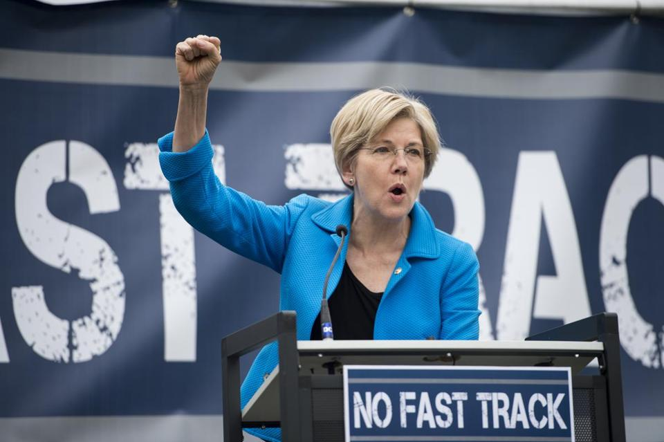 "Senator Elizabeth Warren spoke last week during the United Steelworkers rally in opposition to the proposed ""Fast Track"" bill."