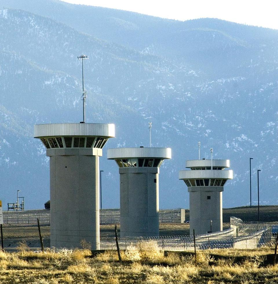 Guard towers loom over the federal facility in Florence, Colo., the highest-security prison in the United States and home to more than 400 prisoners.