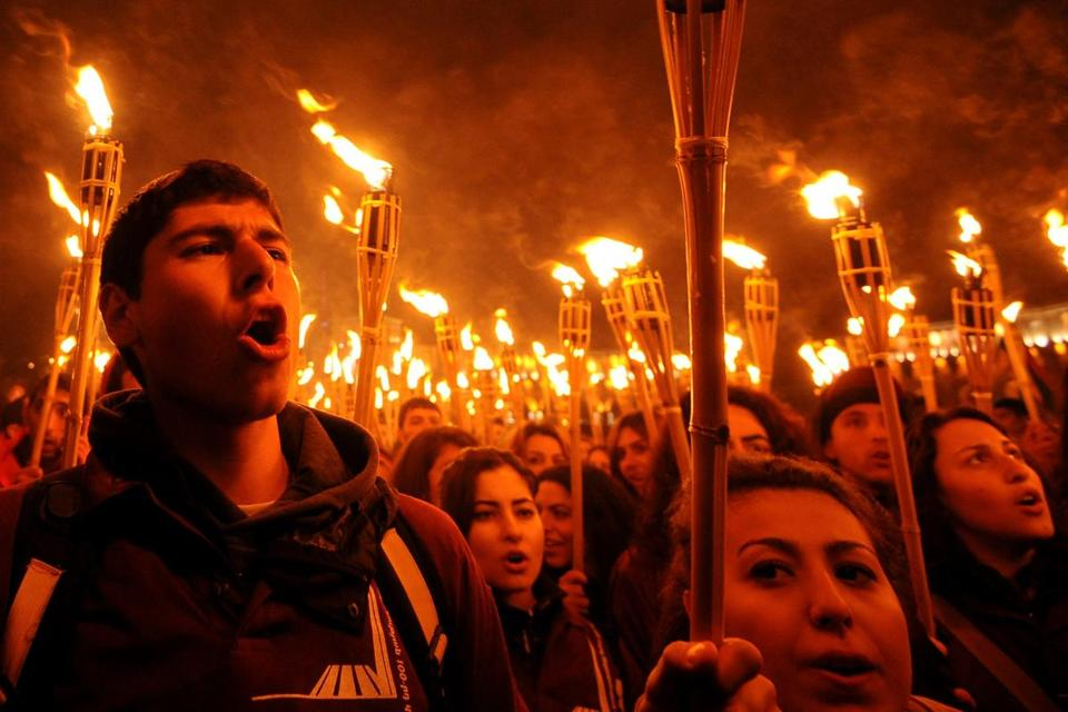 A torchlight procession Friday in Yerevan, Armenia, commemorated the deaths of 1.5 million Armenians, who were massacred by Ottoman forces, beginning in 1915.