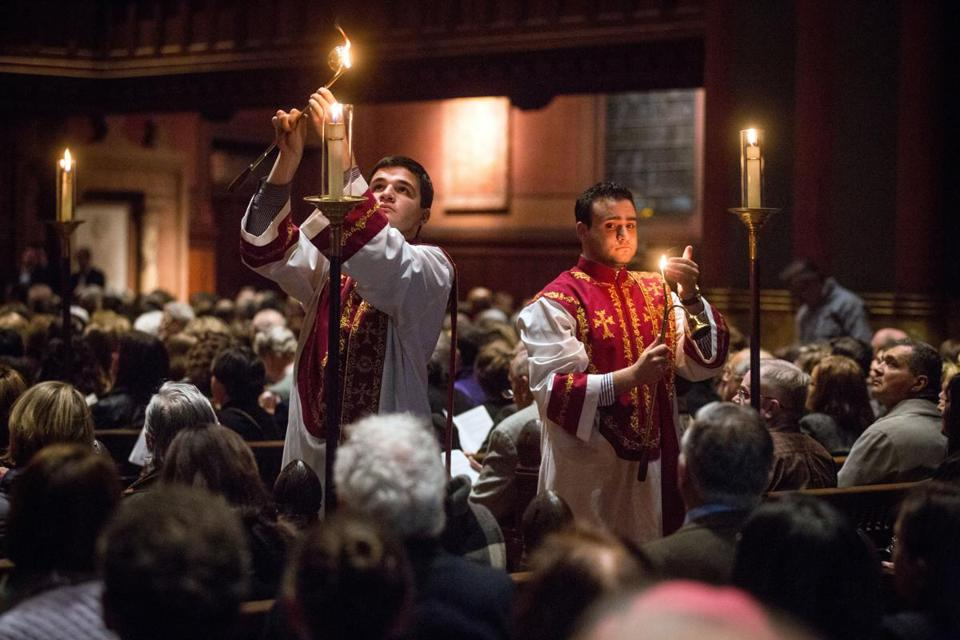 Candles were lit at the Armenian Genocide services held at Trinity Church in Boston.