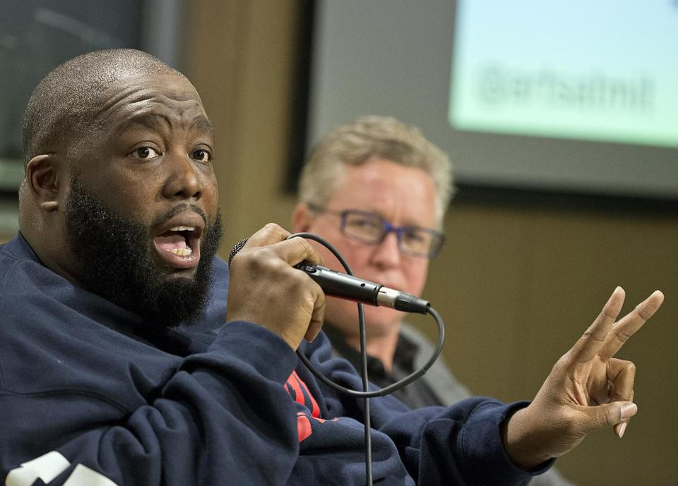 Killer Mike at the MIT hip-hop speaker series with moderator and MIT professor Ian Condry.