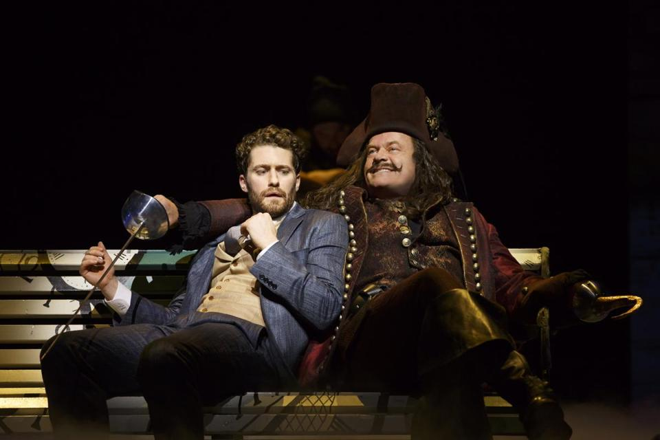 "Matthew Morrison (left) and Kelsey Grammer in the Broadway musical ""Finding Neverland."""