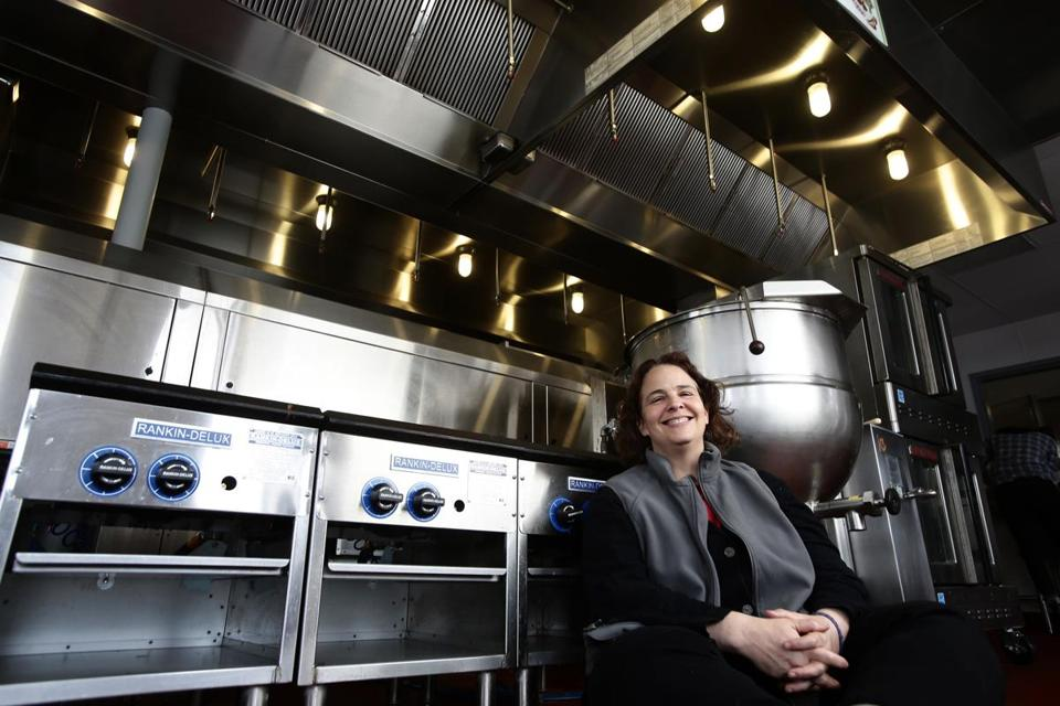 Boston, MA - 04/21/15 - Jen Faigel of CommonWealth Kitchen in the Dorchester shared cooking space. Lane Turner/Globe Staff Section: MAG Reporter: syre Slug: 10gamechangers-cropcircle
