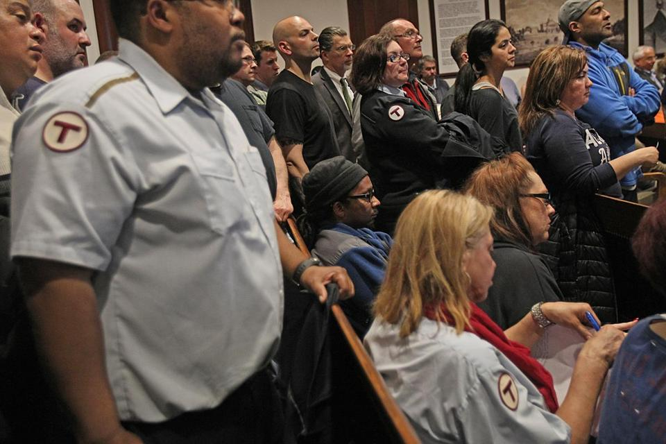 Boston, MA., 04/27/15, A huge Boston Carmen's union crowd at this legislative hearing. Transportation Committee holds an oversight hearing on the recommendations of Gov. Charlie Baker's MBTA reform task force and their plan to restructure the agency's management. Suzanne Kreiter/The Boston Globe