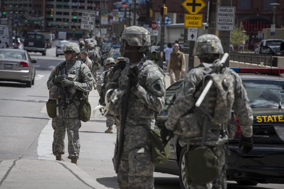 The National Guard in downtown Baltimore on Tuesday.