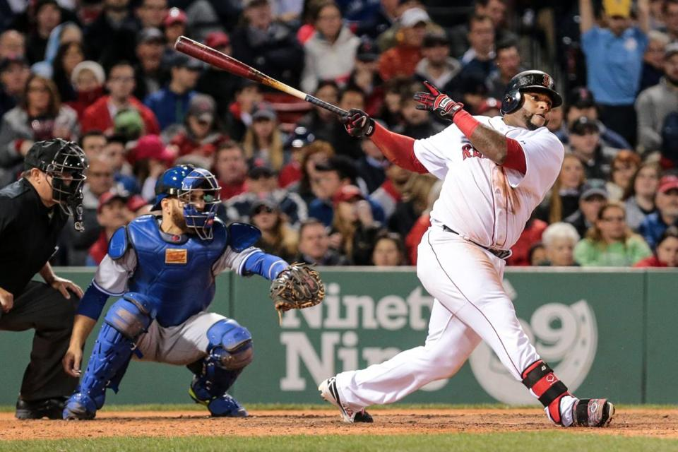 04/28/2015 BOSTON, MA The Sox's Pablo Sandoval (cq) hits a single during a game between the Boston Red Sox and the Toronto Blue Jays at Fenway Park in Boston. (Aram Boghosian for The Boston Globe)