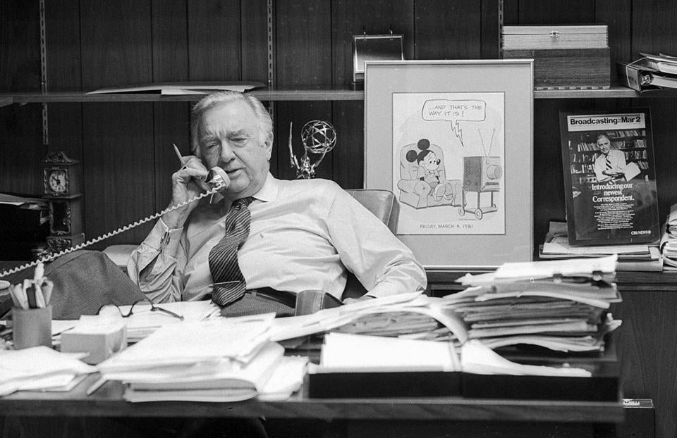 American News Broadcaster And Journalist Walter Cronkite Talks On The Phone In His Office On His Cbs Photo Archive Getty Images